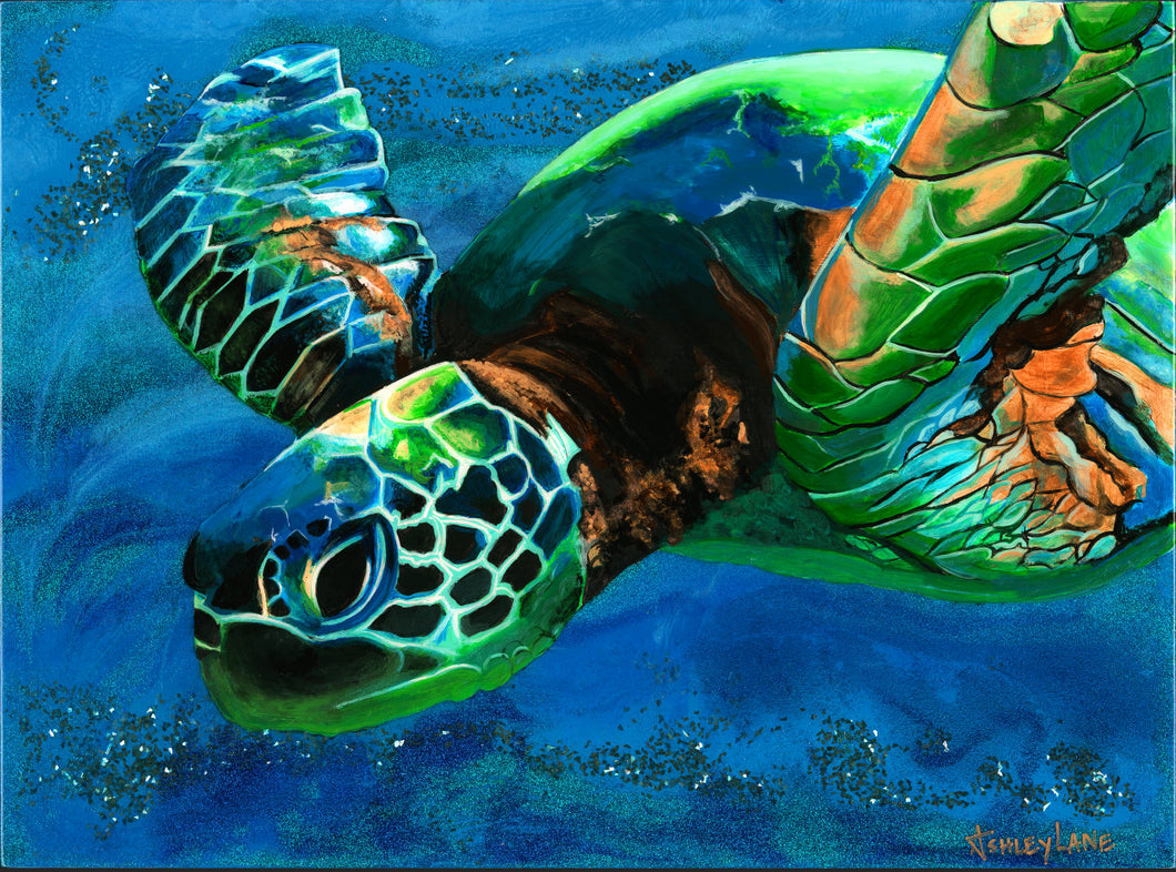 original Sea Turtle sparkly resin pour painting on birch wood named