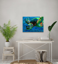 "Load image into Gallery viewer, original Sea Turtle sparkly resin pour painting on birch wood named ""Searching for Light"" by Ashley Lane"