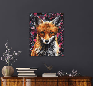 "Original Fox oil painting and collage on canvas named ""Mrs. Fox"" by Ashley Lane"