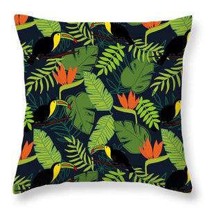 Toucan Jungle Pattern - Throw Pillow