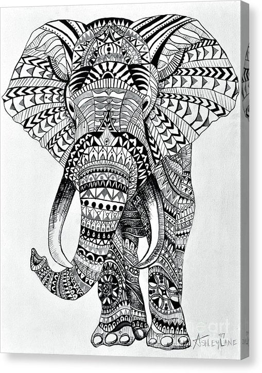 Tribal Elephant Mandala - Canvas Print
