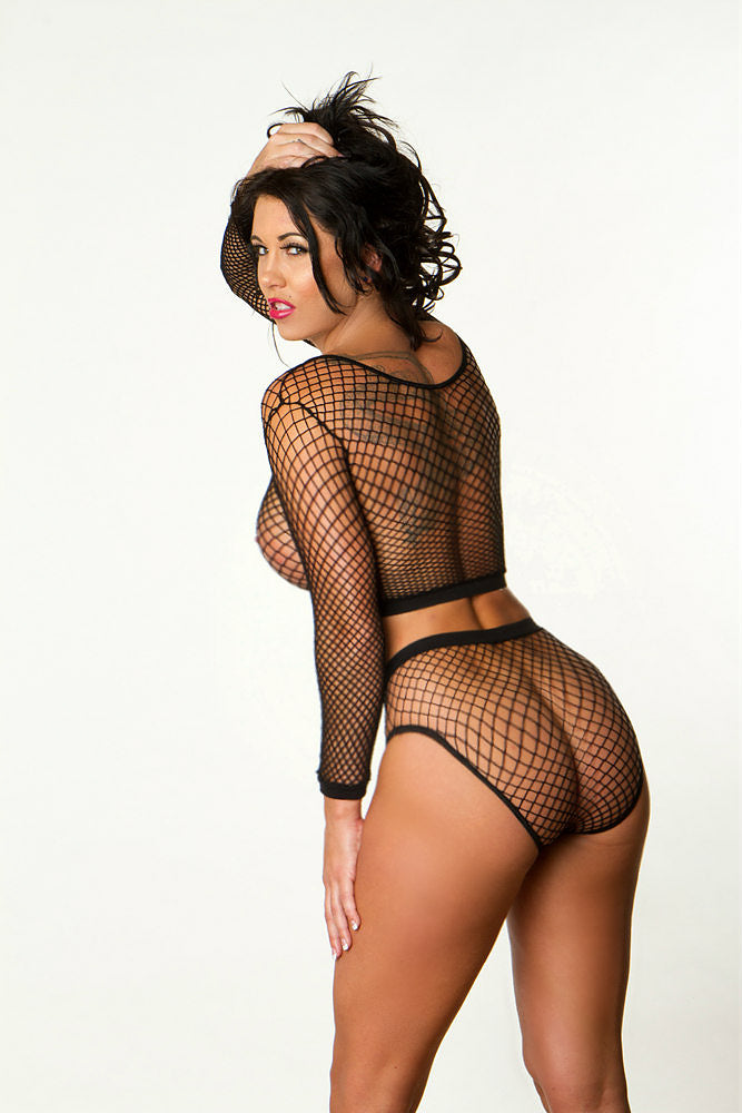 Heather in fishnet lingerie set