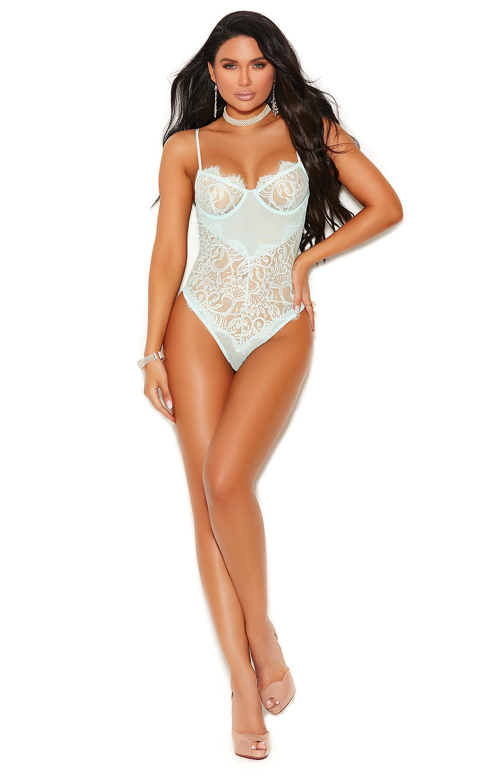 Mint green lace teddy - Sexylingerieland