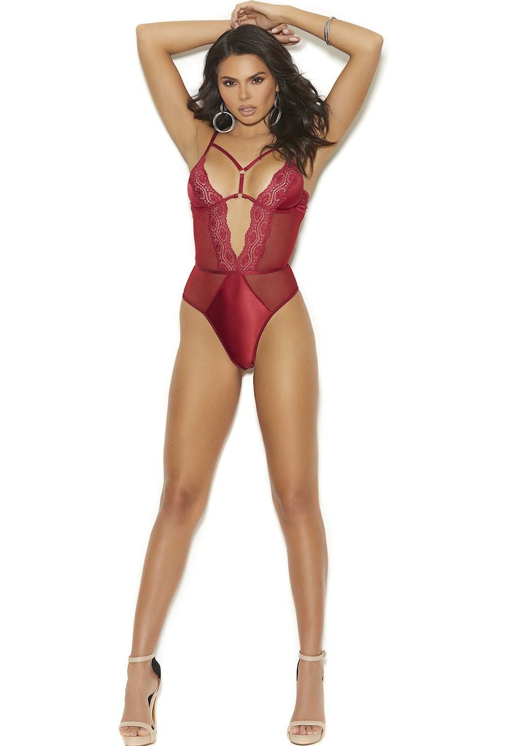 Burgundy satin teddy
