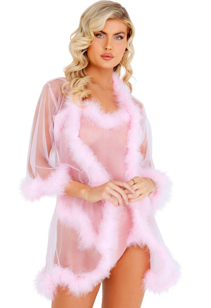Baby pink glamour robe