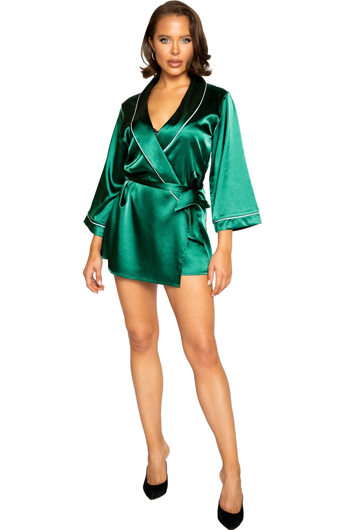 Satin green robe