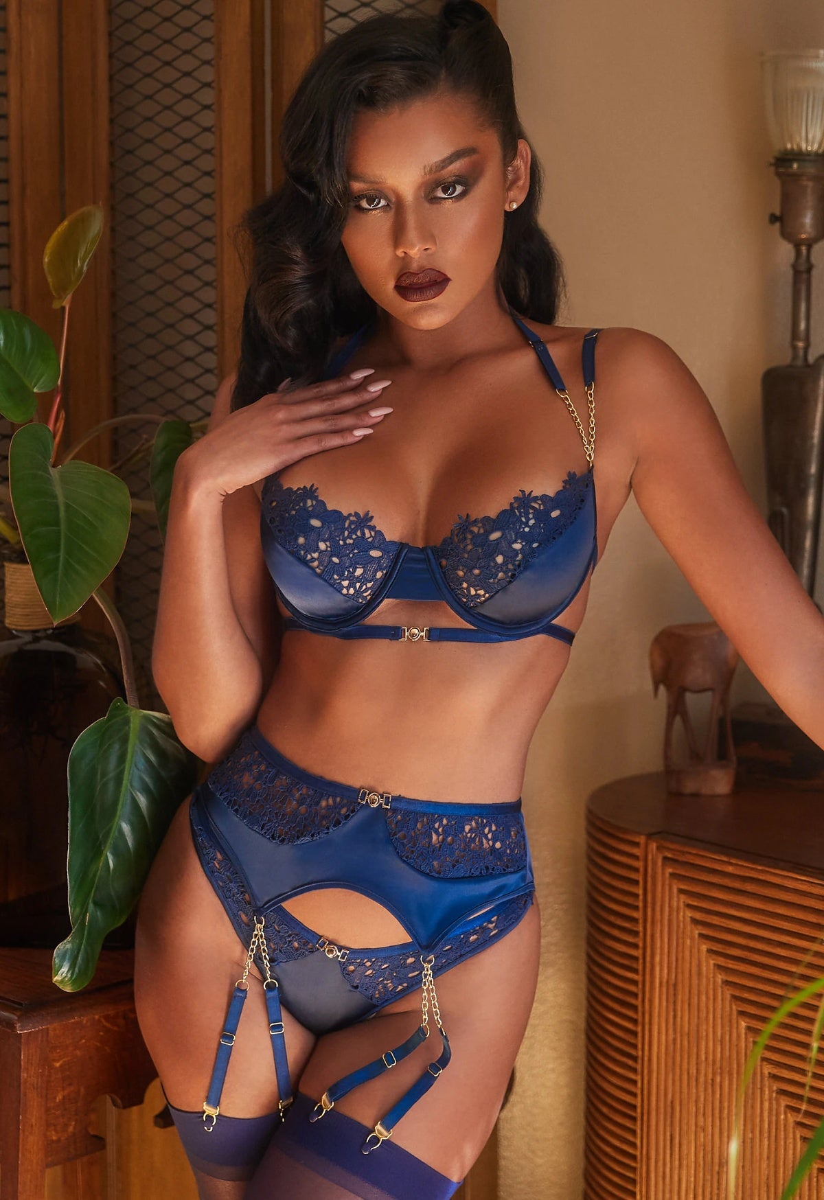 Navy blue embroidery lace lingerie