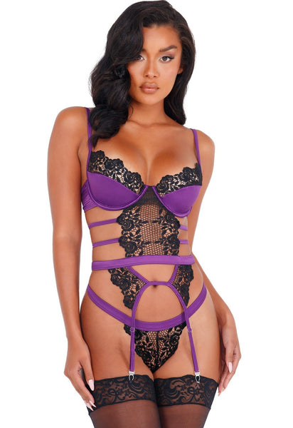 Purple/Black satin bustier