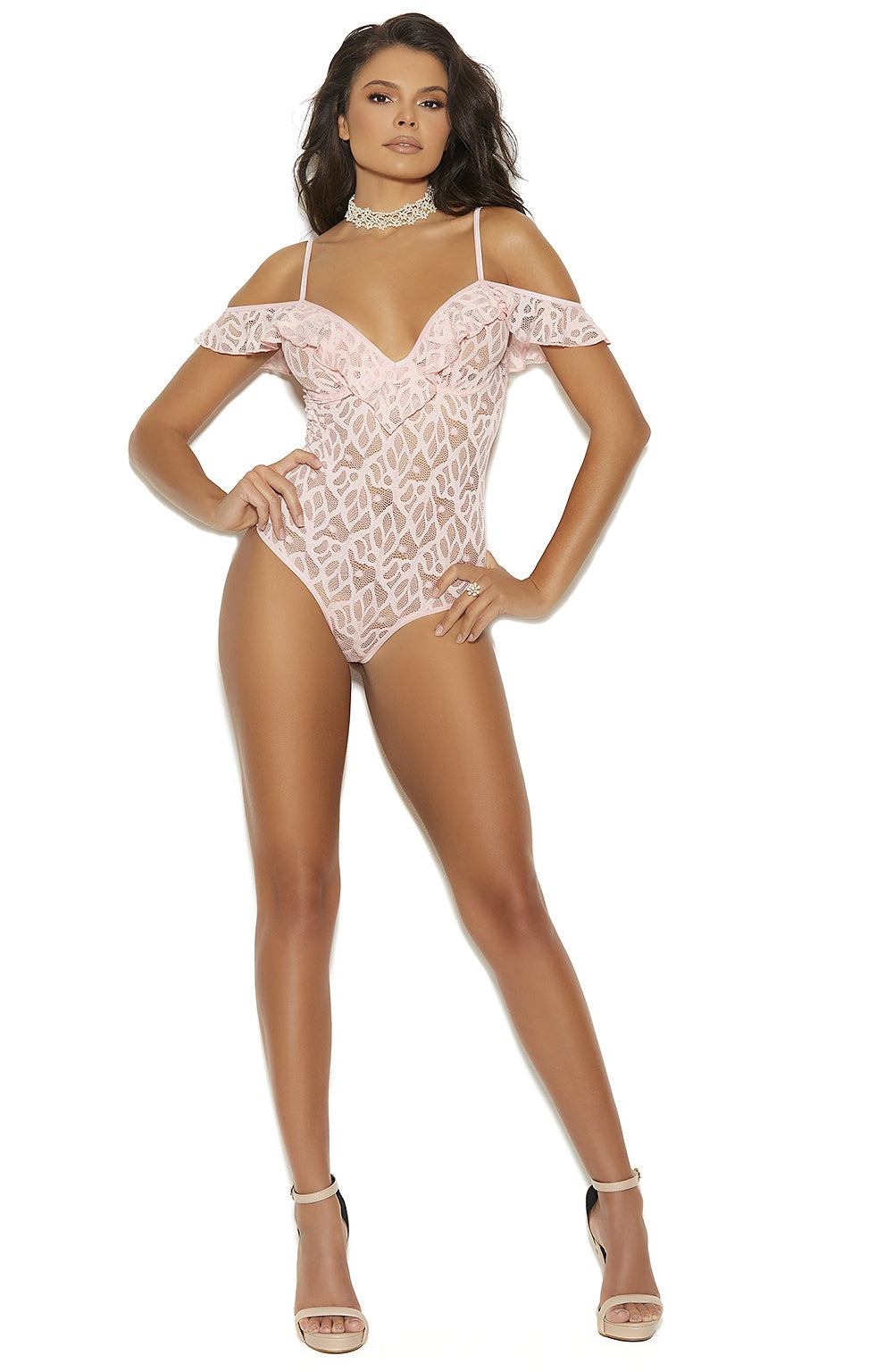 Baby pink lace teddy - Sexylingerieland