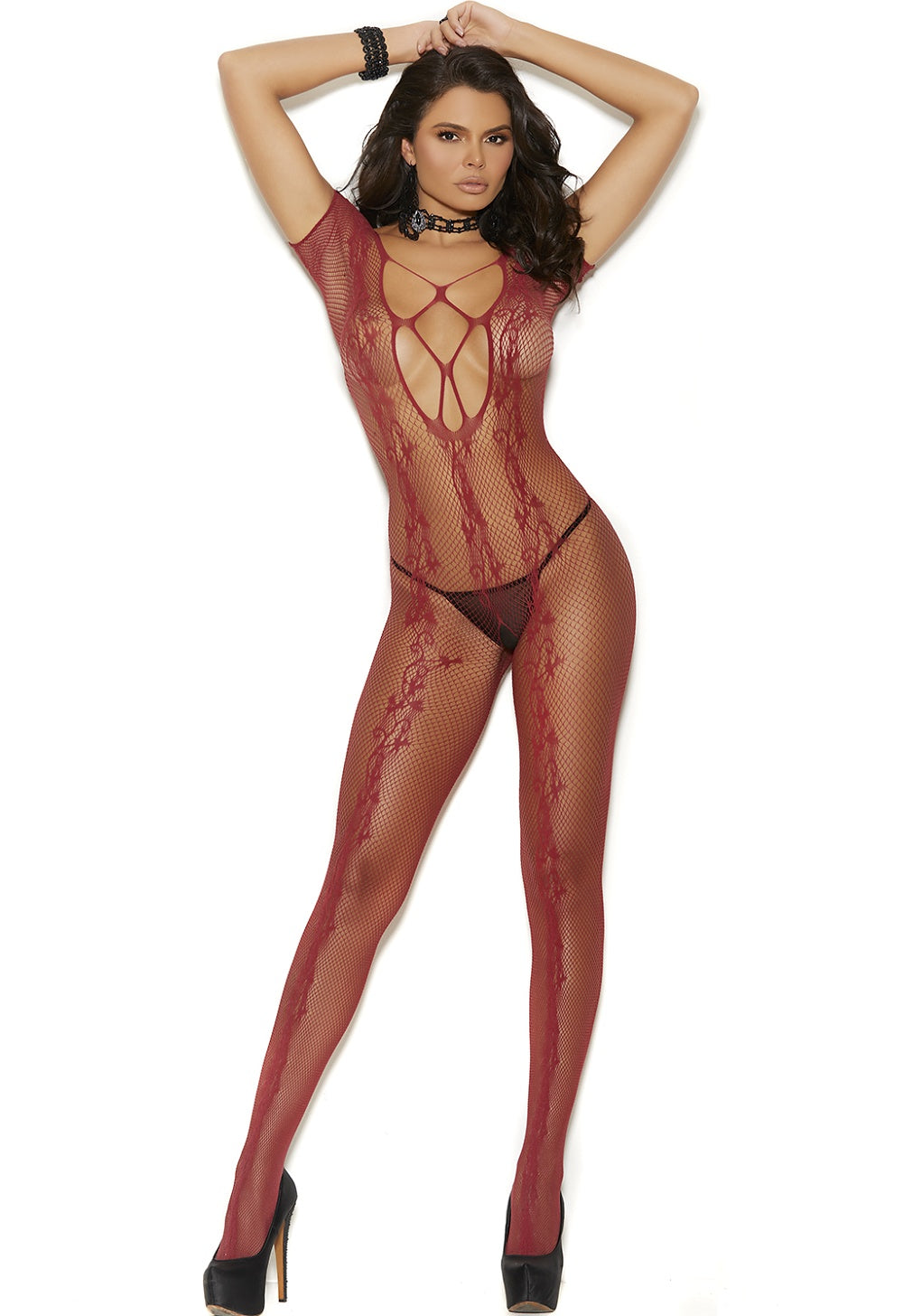 Crochet burgundy bodystocking