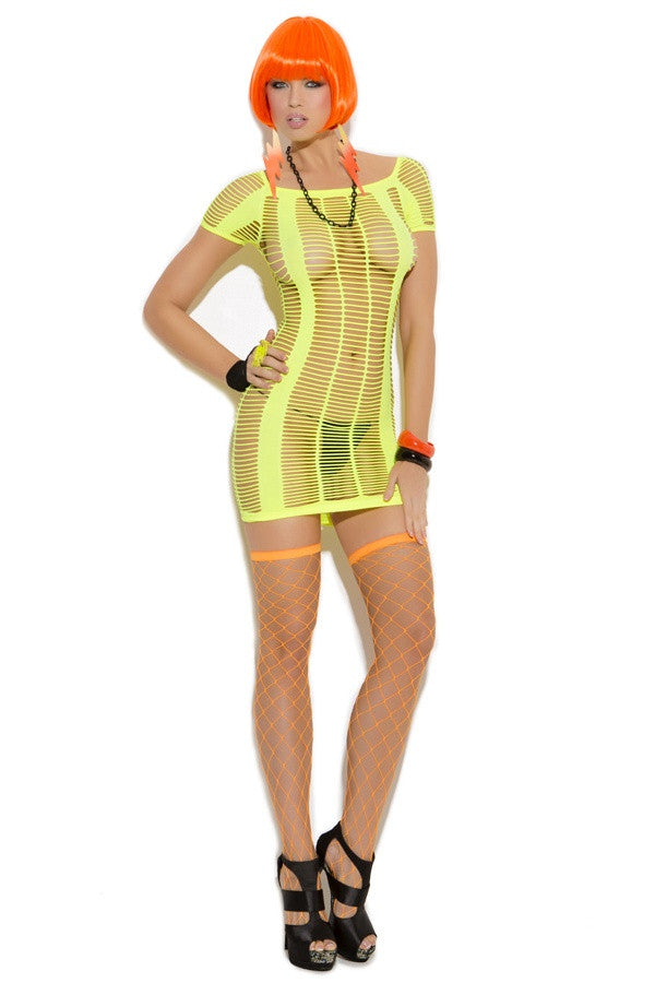 EM-8860 Chartreuse fishnet mini dress - Sexylingerieland