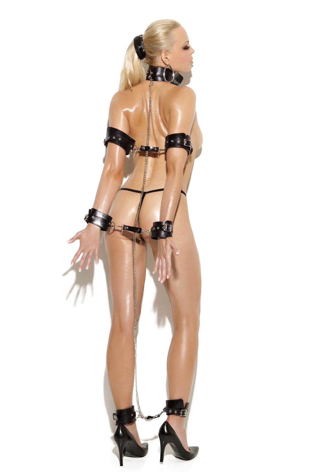 L9420 Detachable leather and chain collar, arm, wrist, ankle restraints - Sexylingerieland