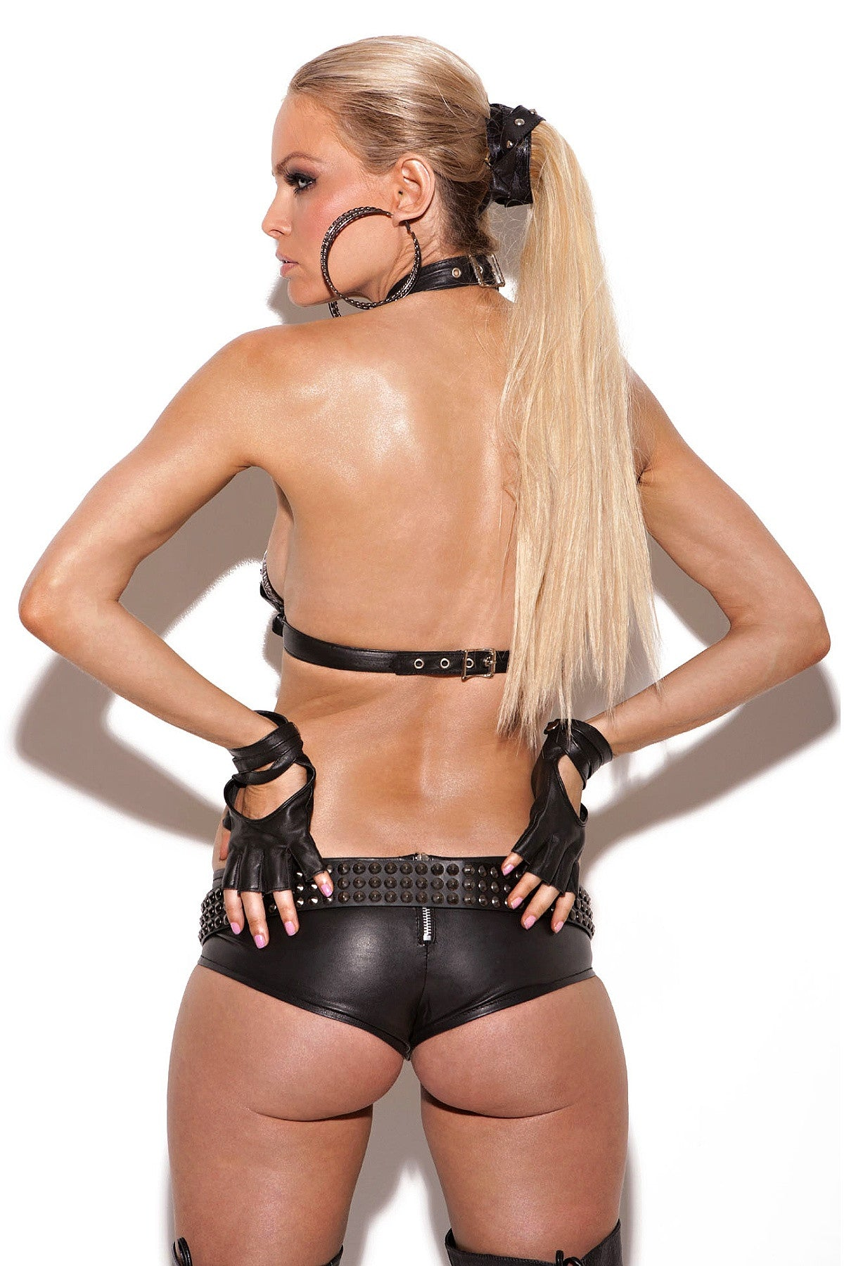 L7134 Leather booty shorts - Sexylingerieland  - 2