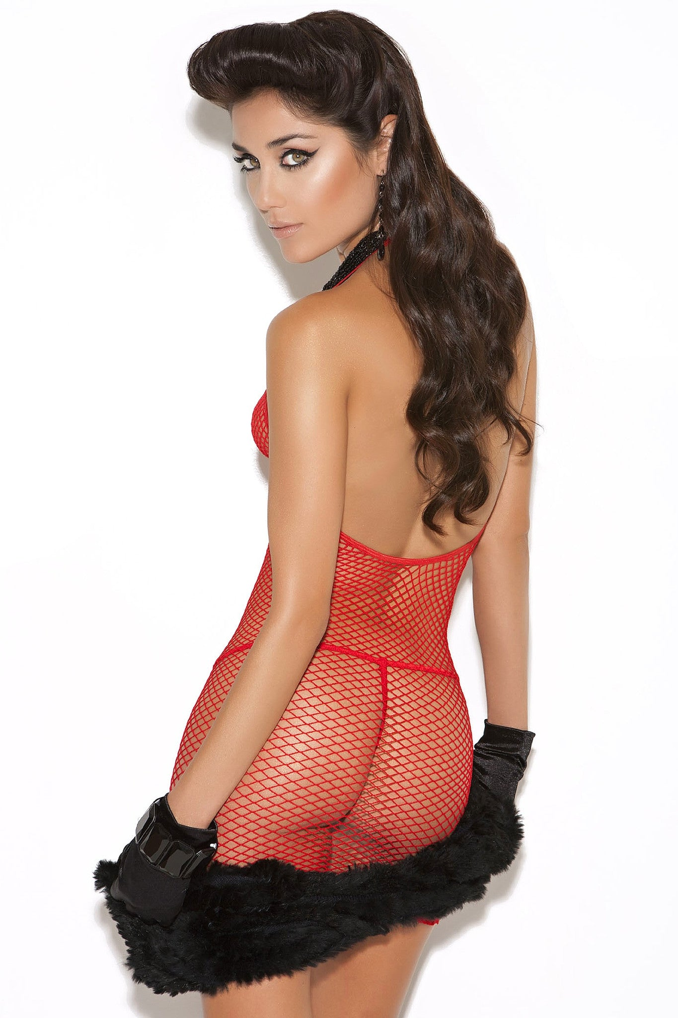 EM-8547 Red diamond net dress - Sexylingerieland