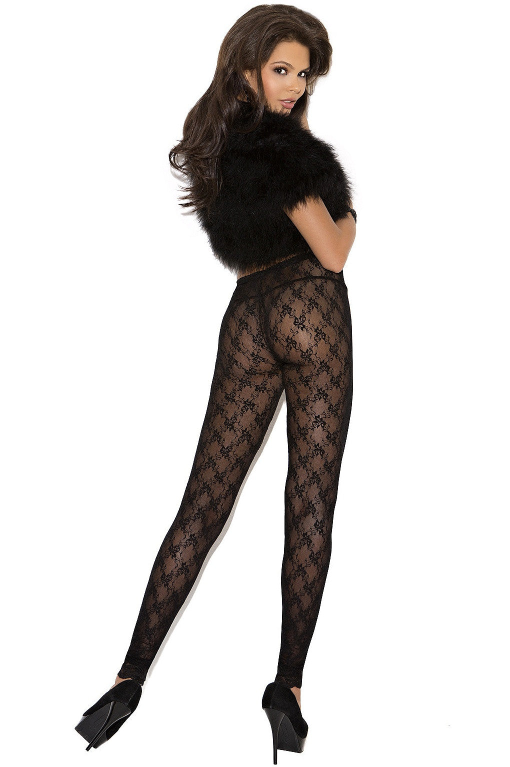 EM-1764 Black lace leggings - Sexylingerieland