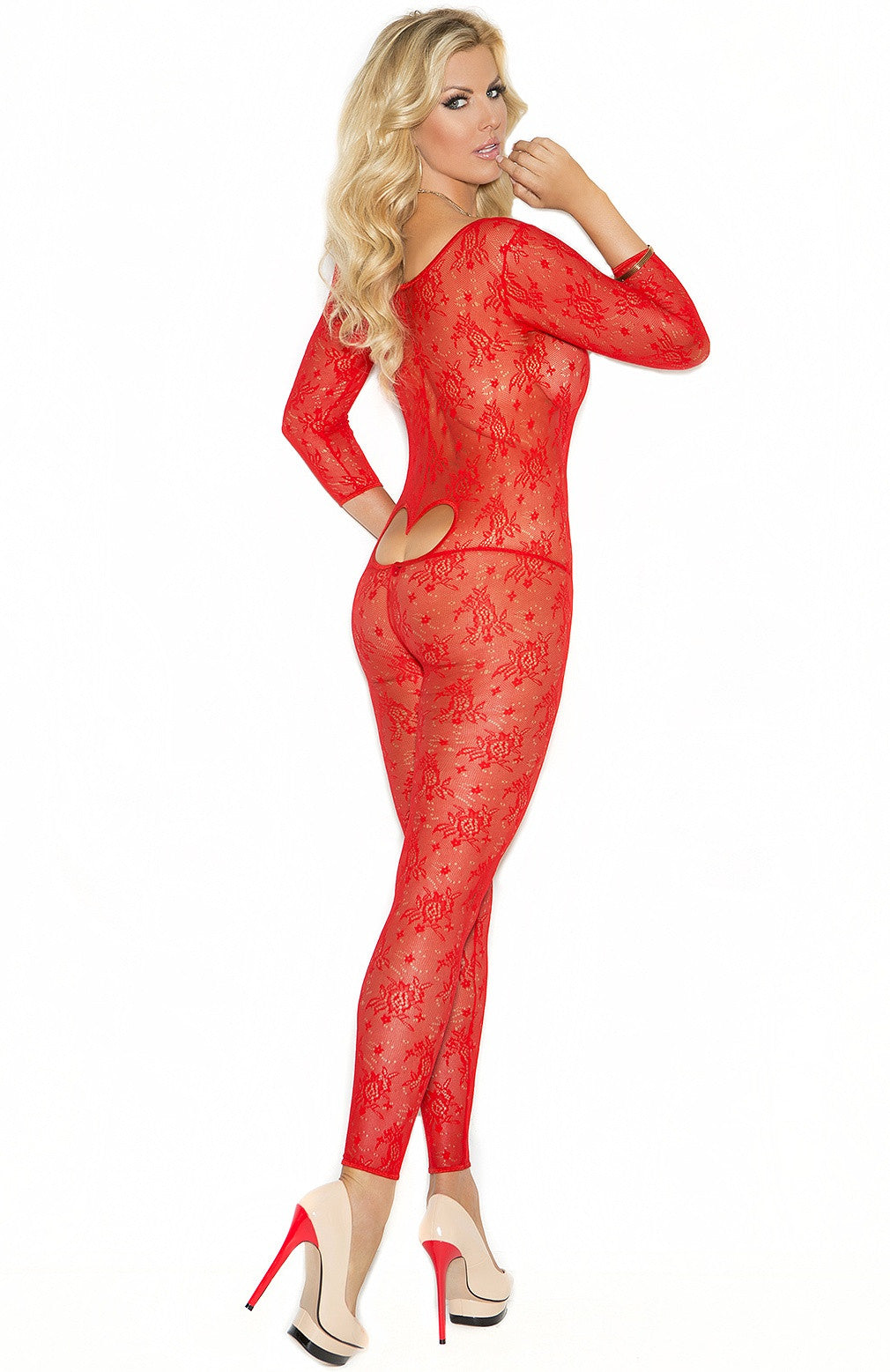 EM-1635 Valentine red bodystocking - Sexylingerieland