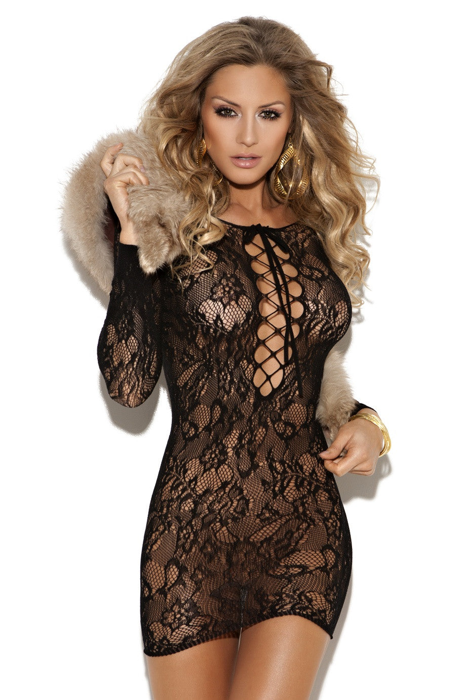 EM-8799 Long sleeve lace mini dress - Sexylingerieland  - 1