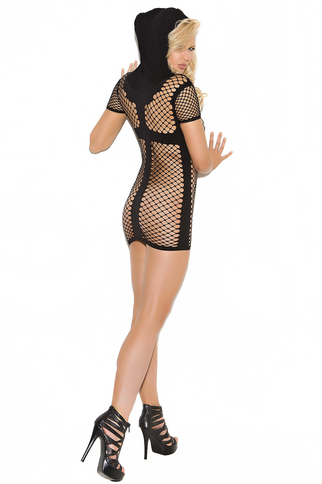 EM-8956 Black hooded fishnet mini dress - Sexylingerieland  - 2