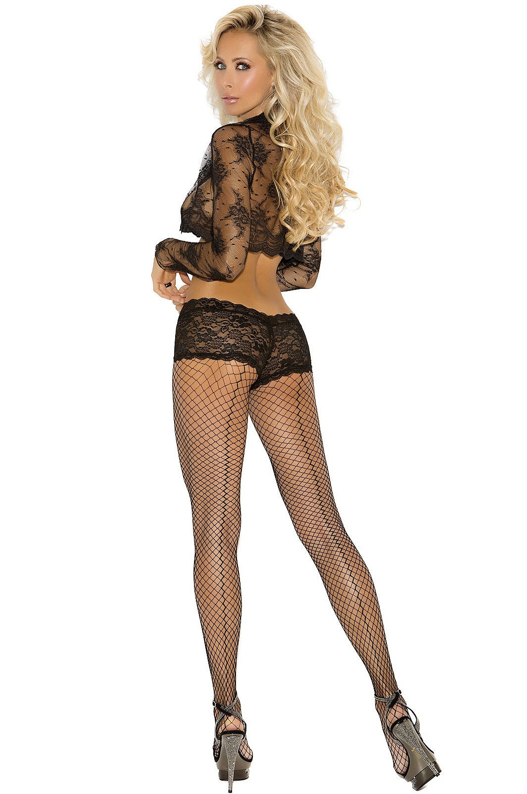 EM-1896 Black fence net pantyhose with attached panty - Sexylingerieland