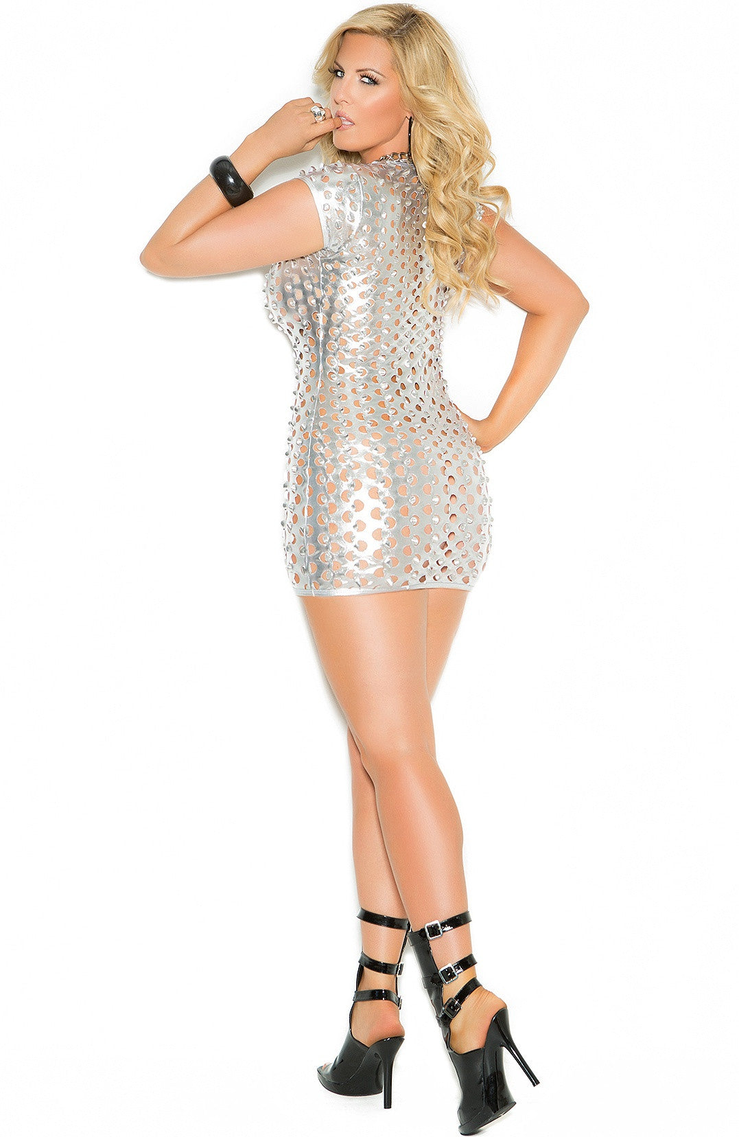 EM-8302 Silver short mini dress - Sexylingerieland  - 4