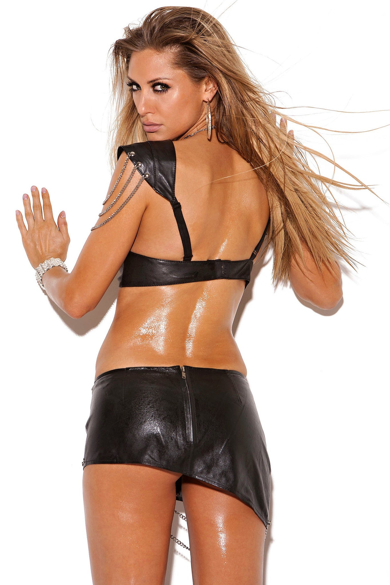L6822 Leather mini skirt - Sexylingerieland  - 2