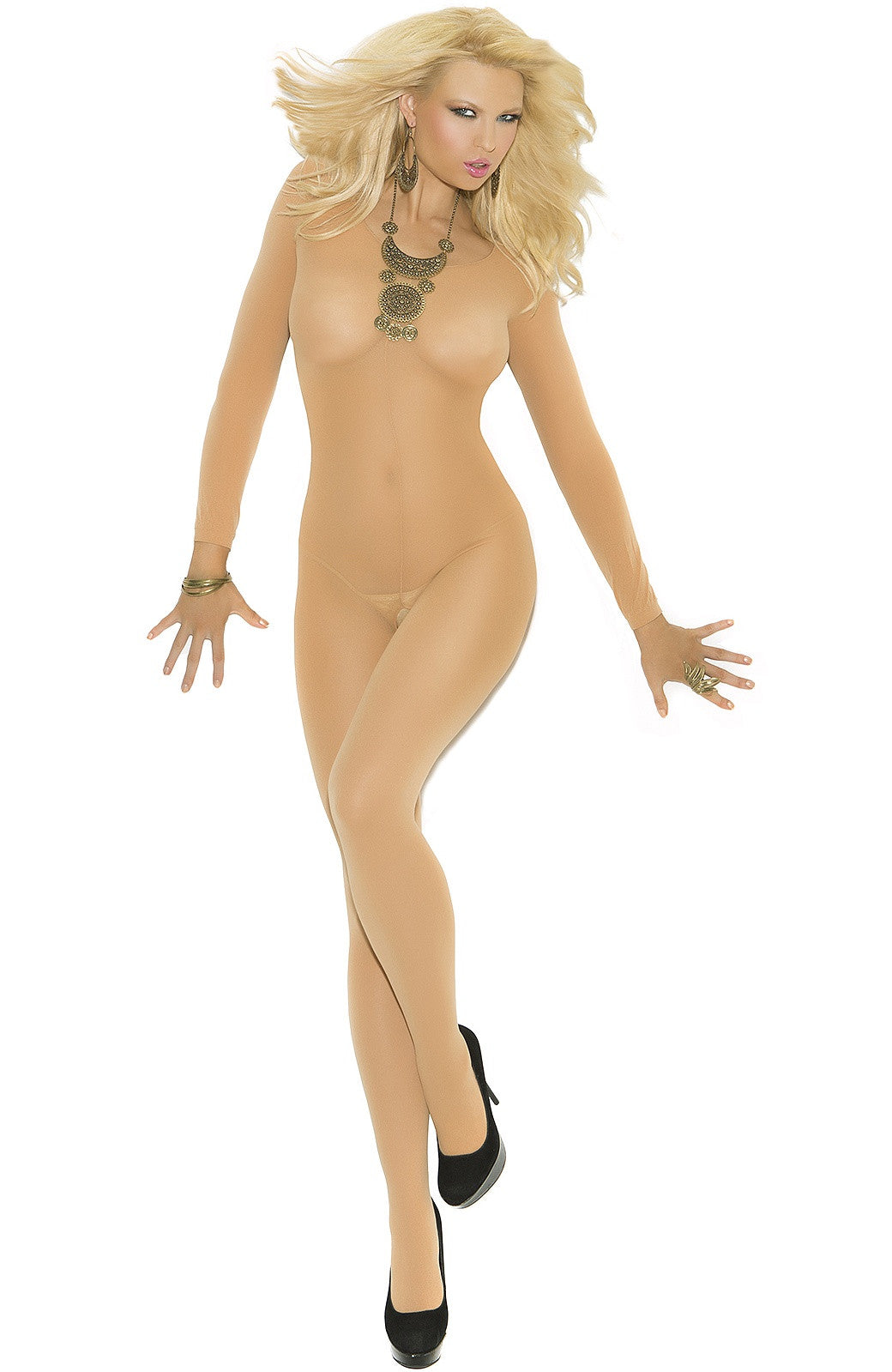 EM-1606 Nude long sleeve bodystocking - Sexylingerieland
