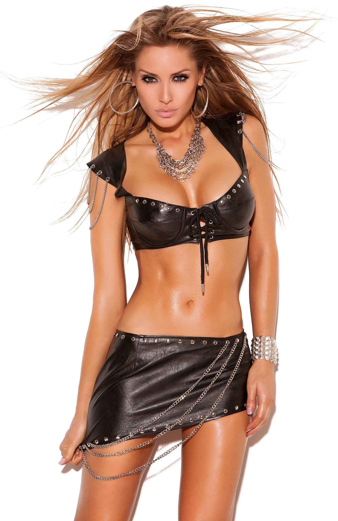 L6822 Leather mini skirt - Sexylingerieland  - 1