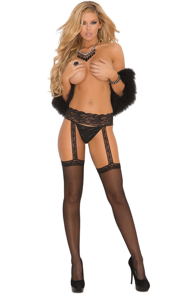 EM-1714 Sheer black stockings & garter belt - Sexylingerieland