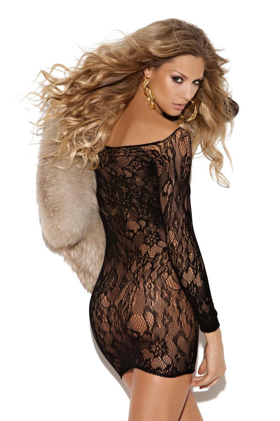 EM-8799 Long sleeve lace mini dress - Sexylingerieland  - 2