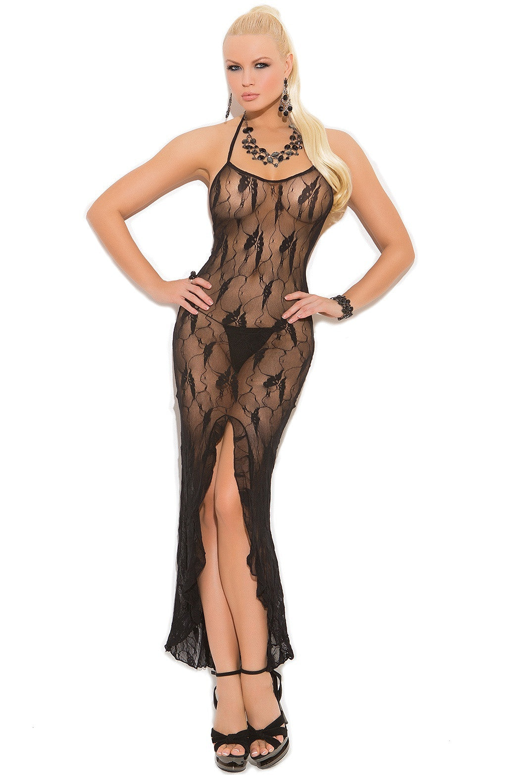 EM-1442 Black Night gown - Sexylingerieland