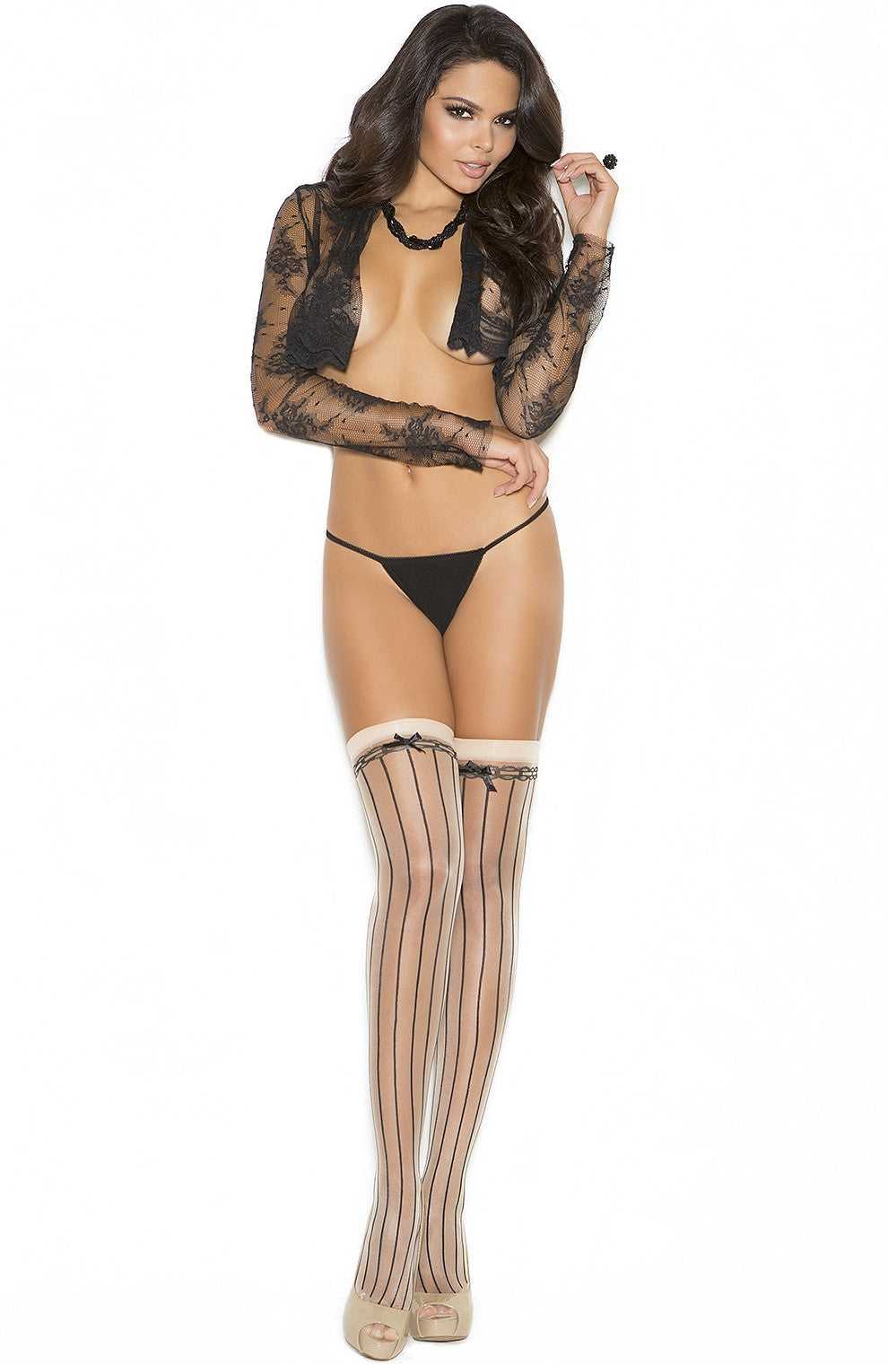 EM-1112 Pin striped Nude/Black stockings - Sexylingerieland