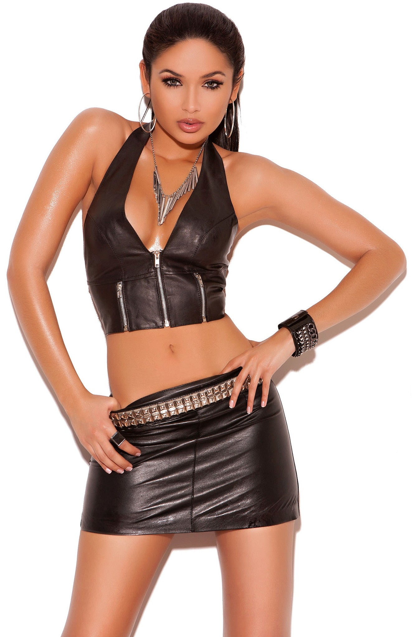 L6102 Leather mini skirt - Sexylingerieland