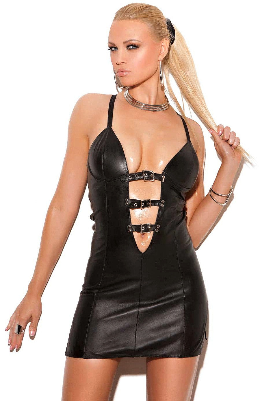 L8125 Leather mini dress - Sexylingerieland  - 1