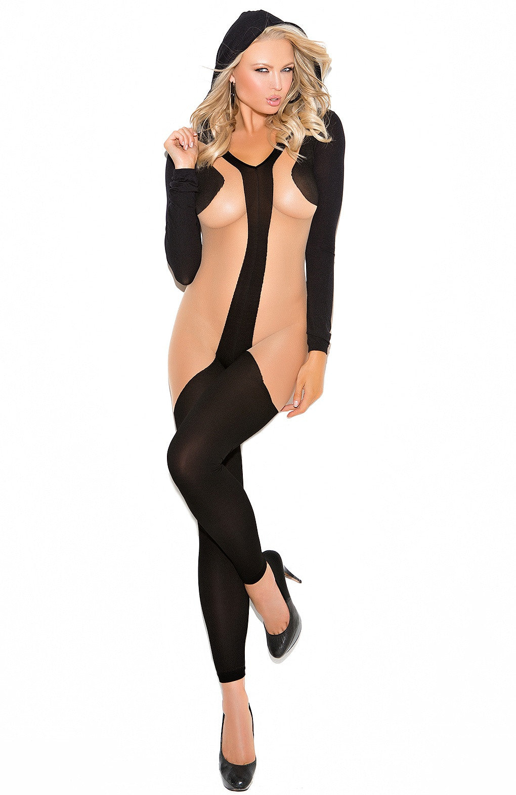 EM-1643 Hooded stylish bodystocking - Sexylingerieland