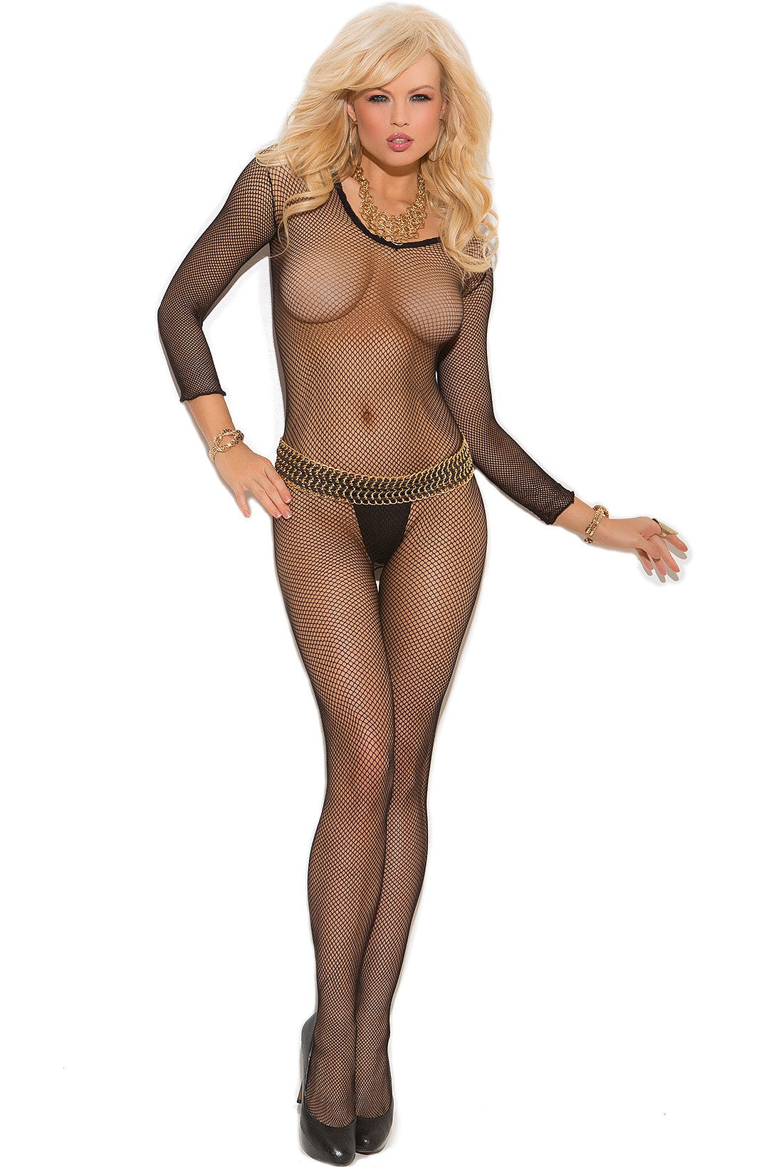 EM-1615 Black fishnet bodystocking - Sexylingerieland