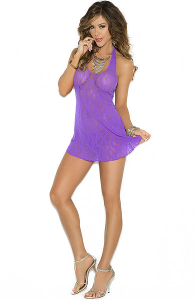 EM-1422 Purple lace mini dress - Sexylingerieland