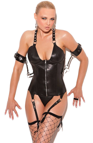 L3134 Leather zip front corset - Sexylingerieland