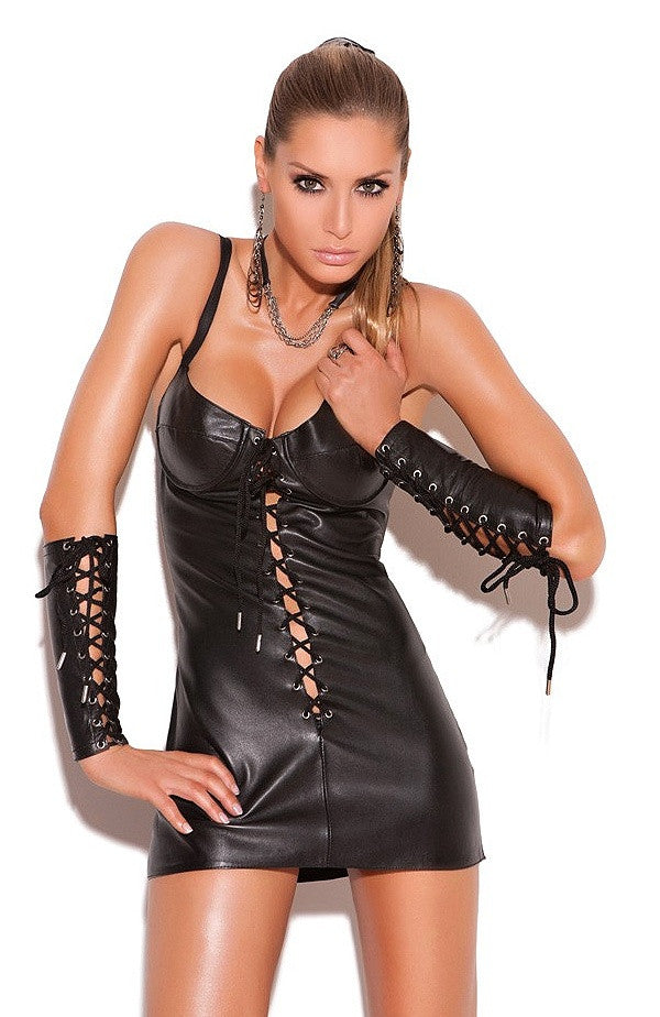 L8103 Lace up leather mini dress - Sexylingerieland  - 1