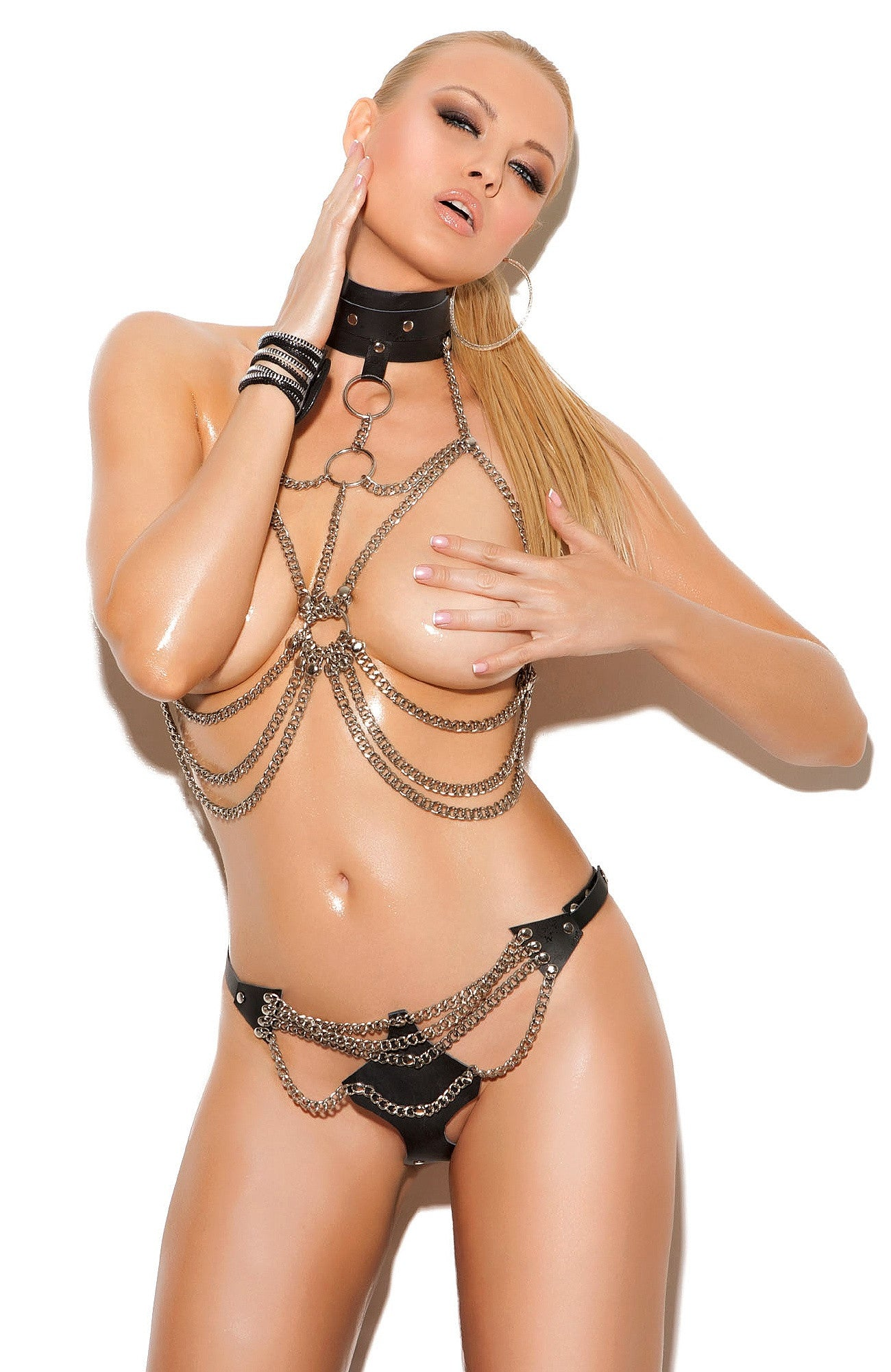 L1131 Leather and chain bra set - Sexylingerieland  - 1