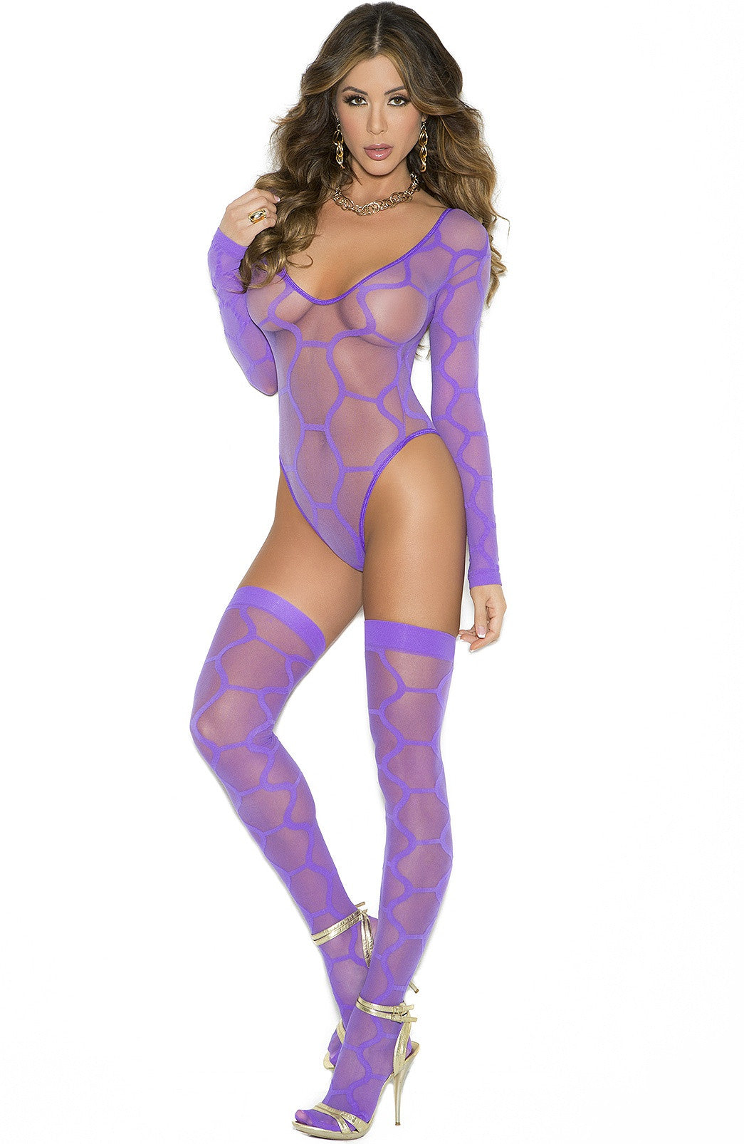 EM-1542 Amazing purple teddy set - Sexylingerieland