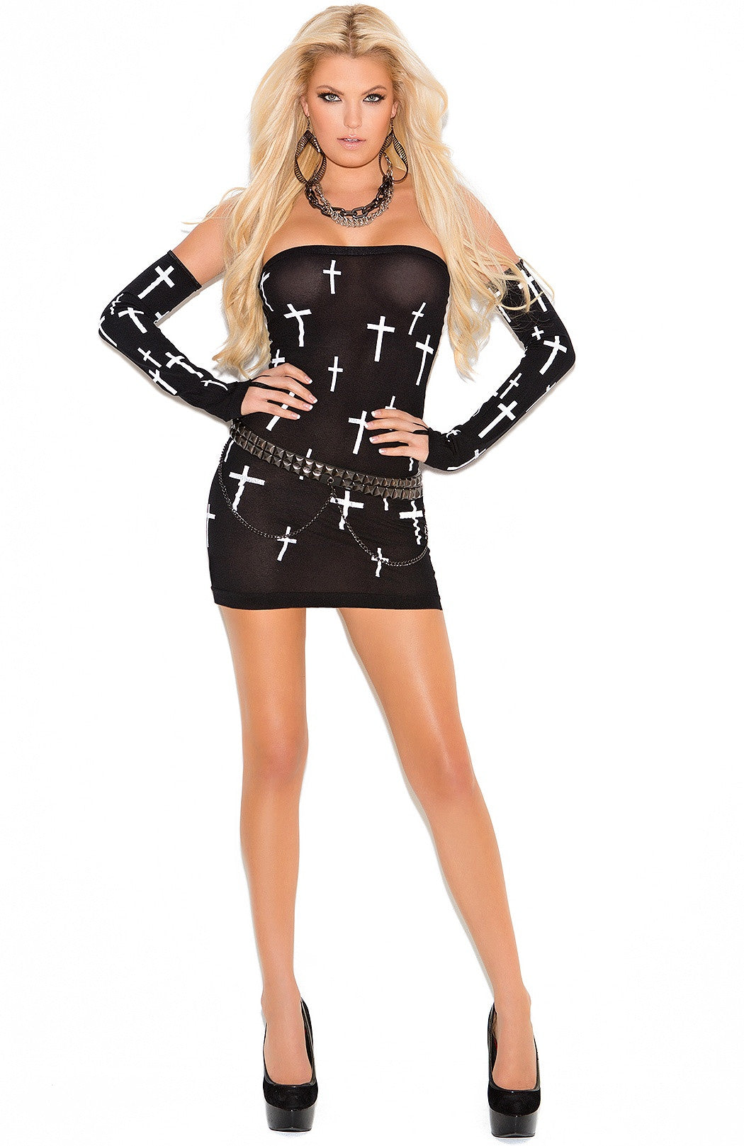 EM-1588 Opaque dress with cross motif - Sexylingerieland