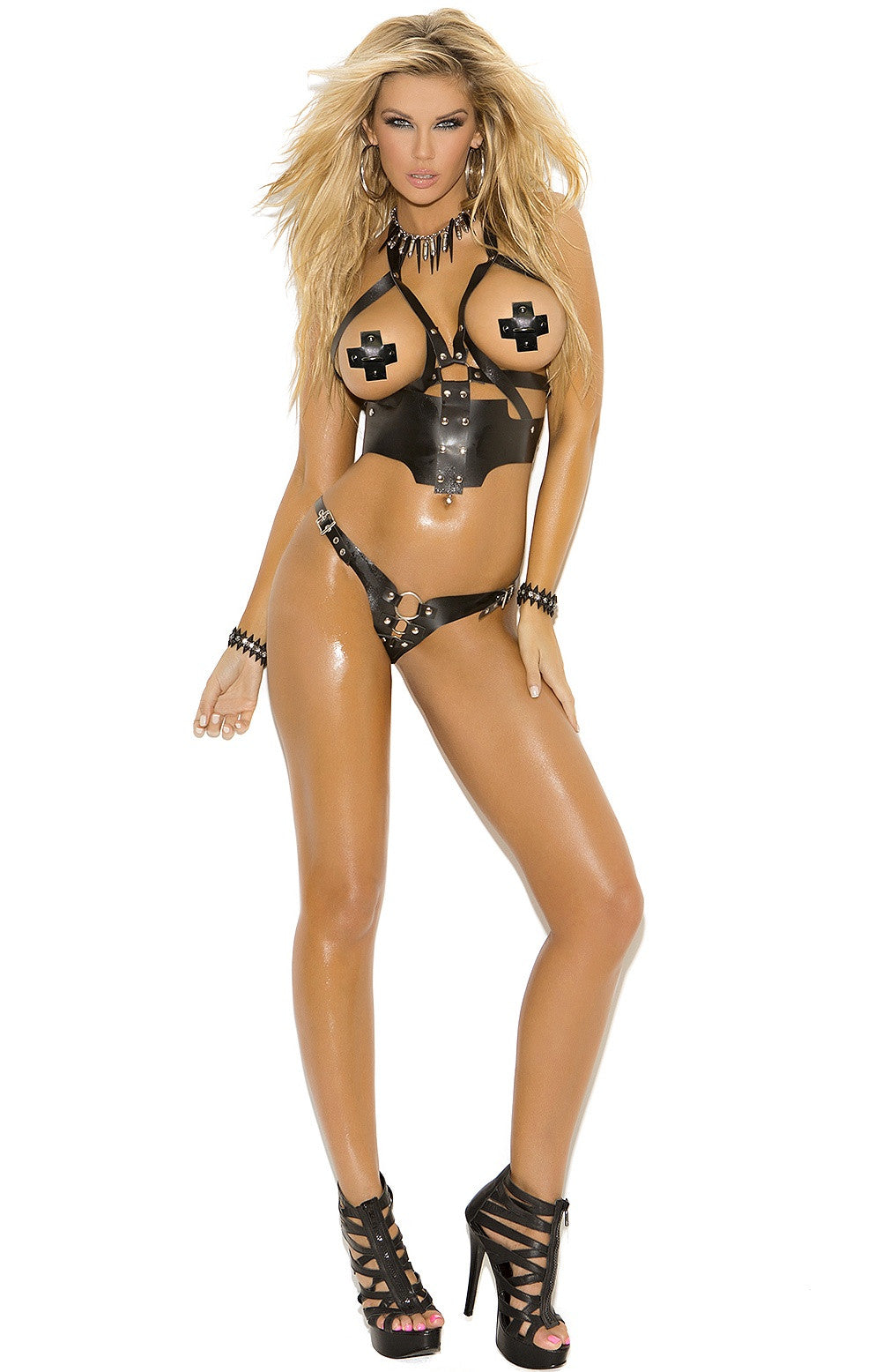 L9701 Black leather harness - Sexylingerieland  - 1
