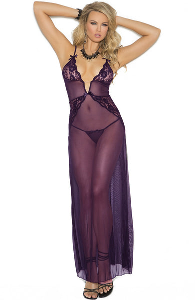 EM-1961 Luxury dark purple gown - Sexylingerieland