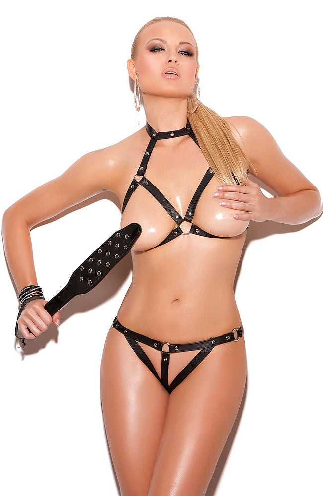 L1232 Leather & chain bra set - Sexylingerieland  - 1
