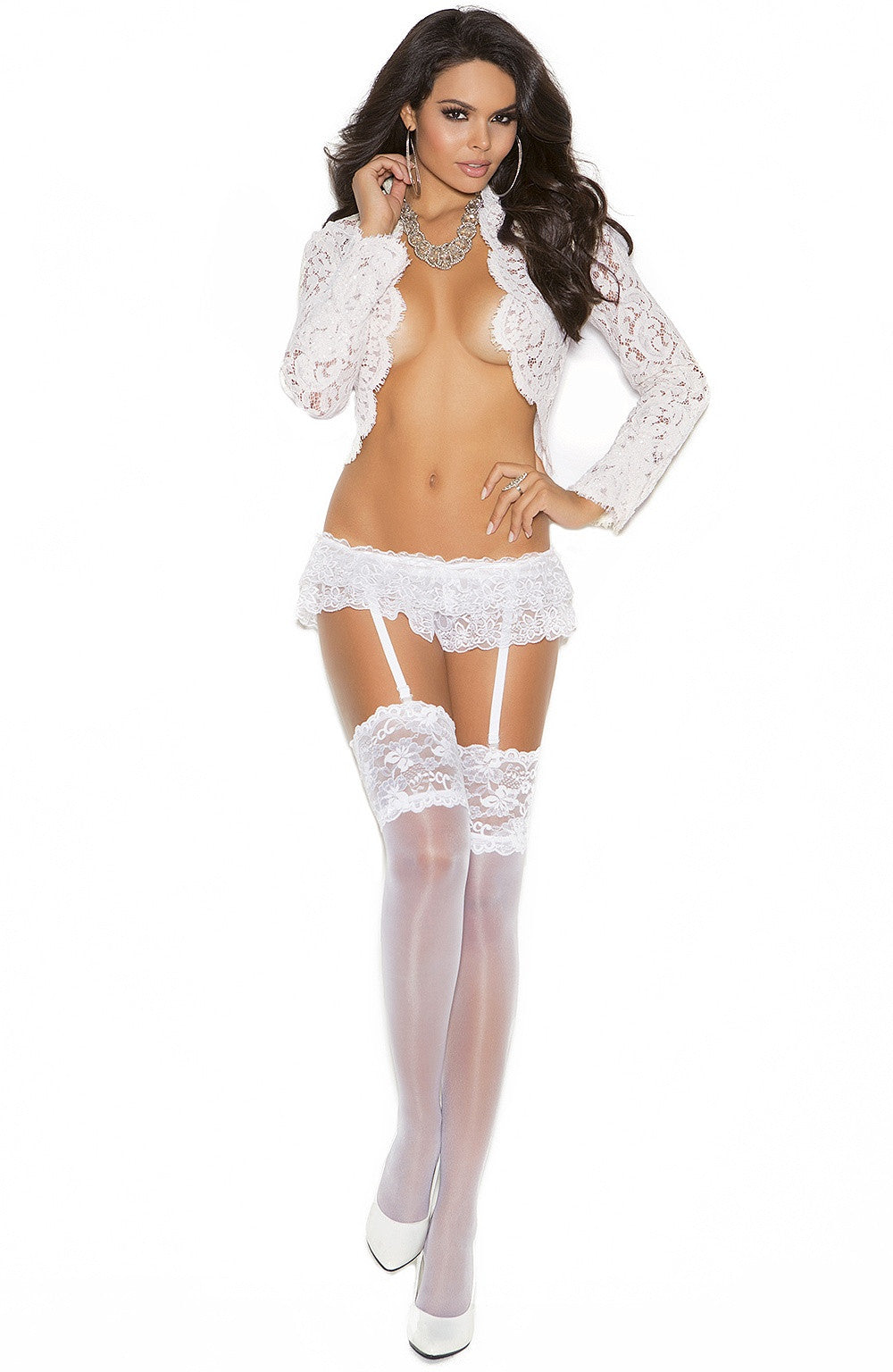 EM-1836 White weddings stockings - Sexylingerieland