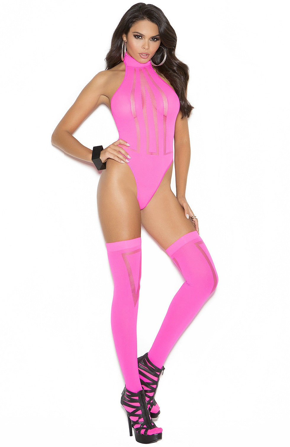 EM-1585 Neon pink teddy & stockings - Sexylingerieland