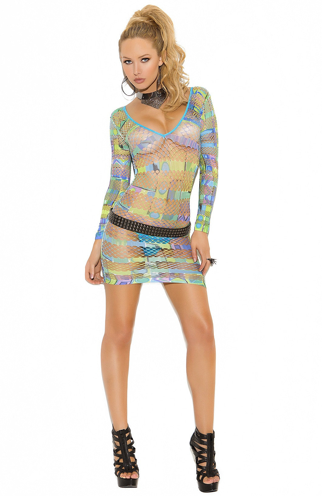 EM-8937 Colorfull fishet mini dress - Sexylingerieland  - 1