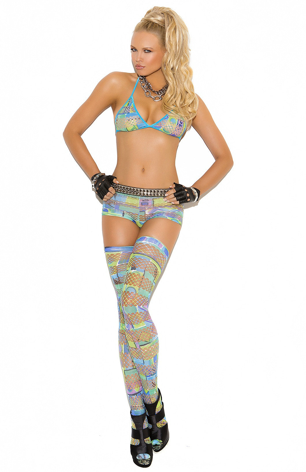 EM-8938 Multi color fishnet set - Sexylingerieland  - 1