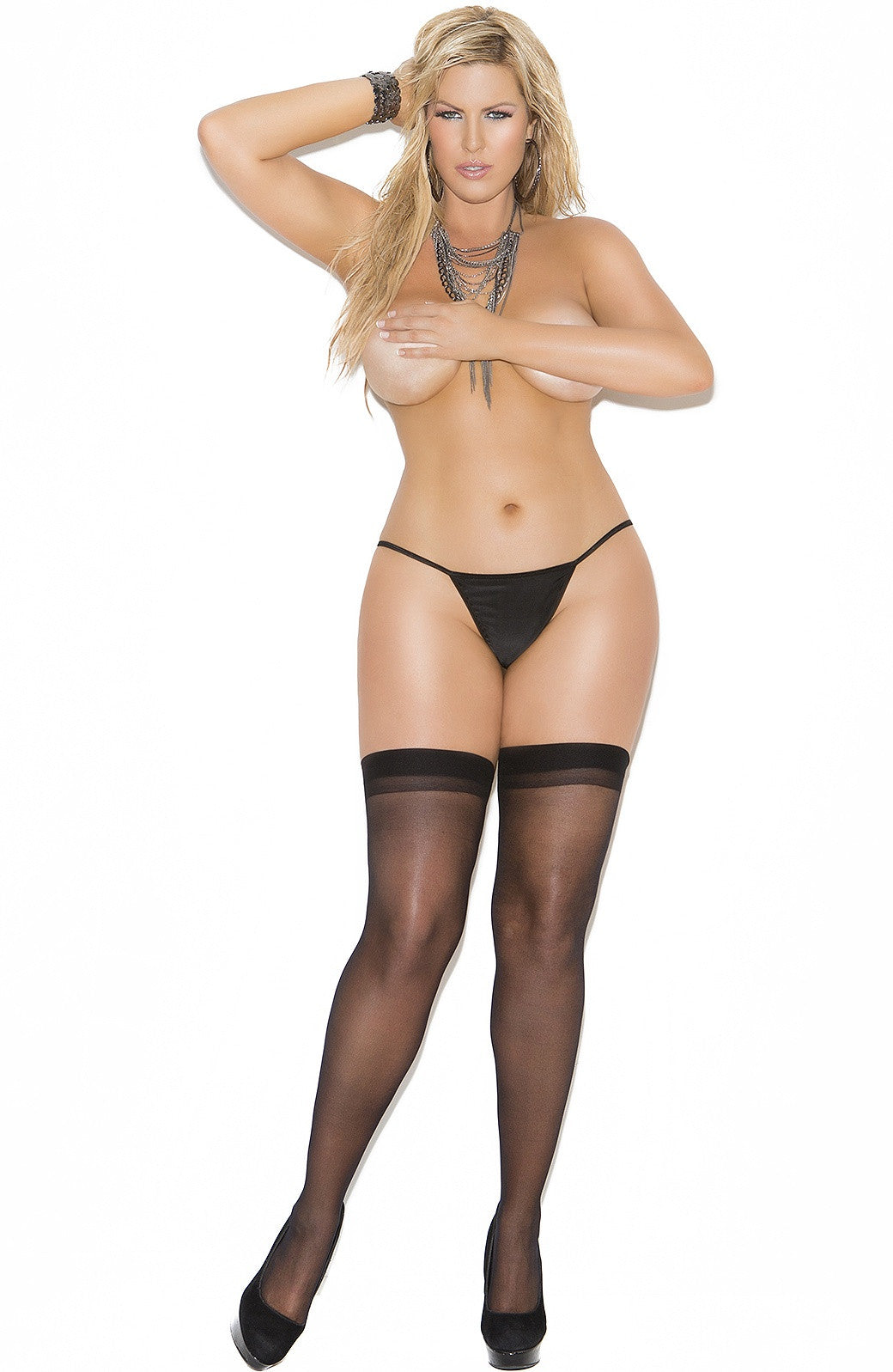 EM-1701 Sheer black back seam stocking - Sexylingerieland