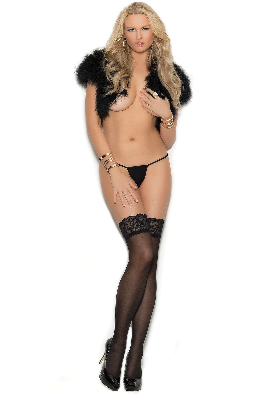 EM-1186 Sheer black thigh hi